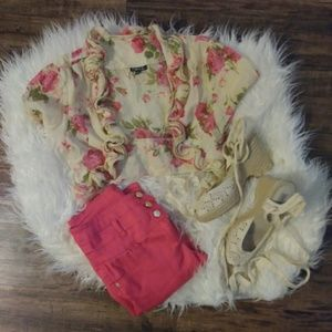 Rue21 Romantic Rose cropped cardigan shrug